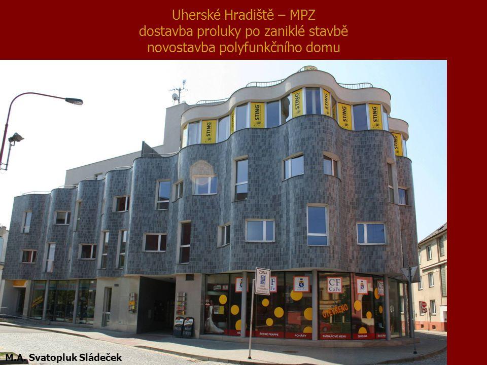 Uherské Hradiště – MPZ dostavba proluky po zaniklé stavbě novostavba polyfunkčního domu