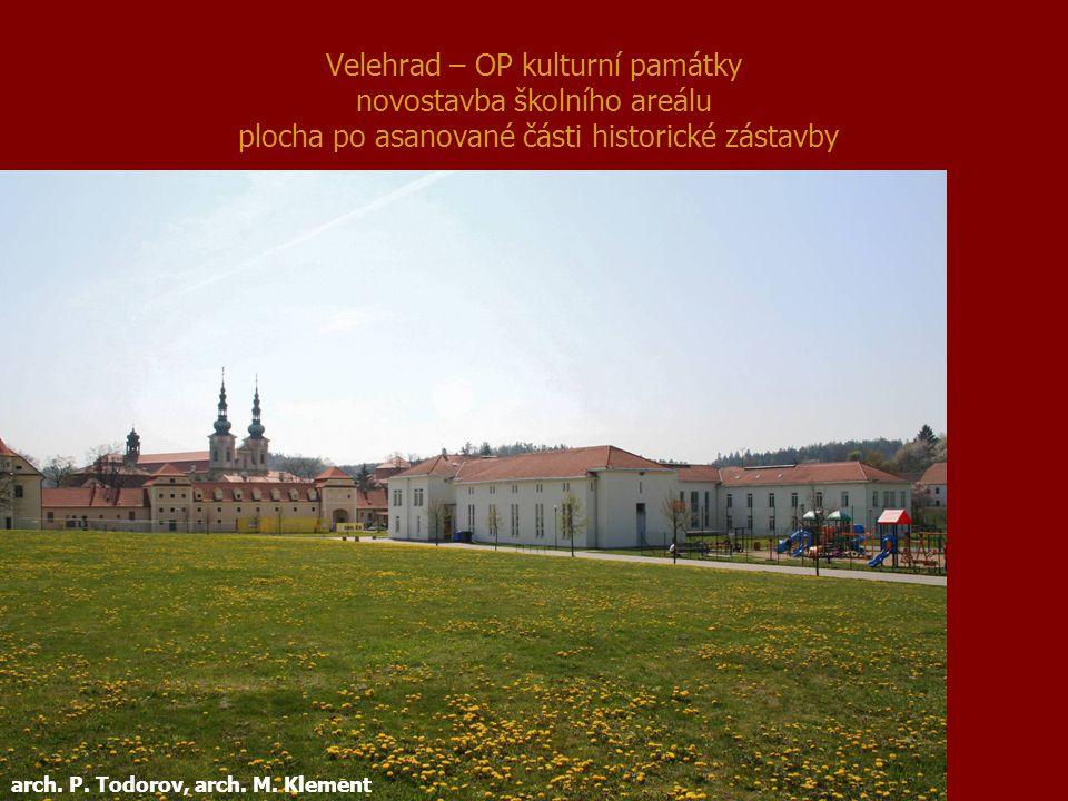 Velehrad – OP kulturní památky novostavba školního areálu plocha po asanované části historické zástavby