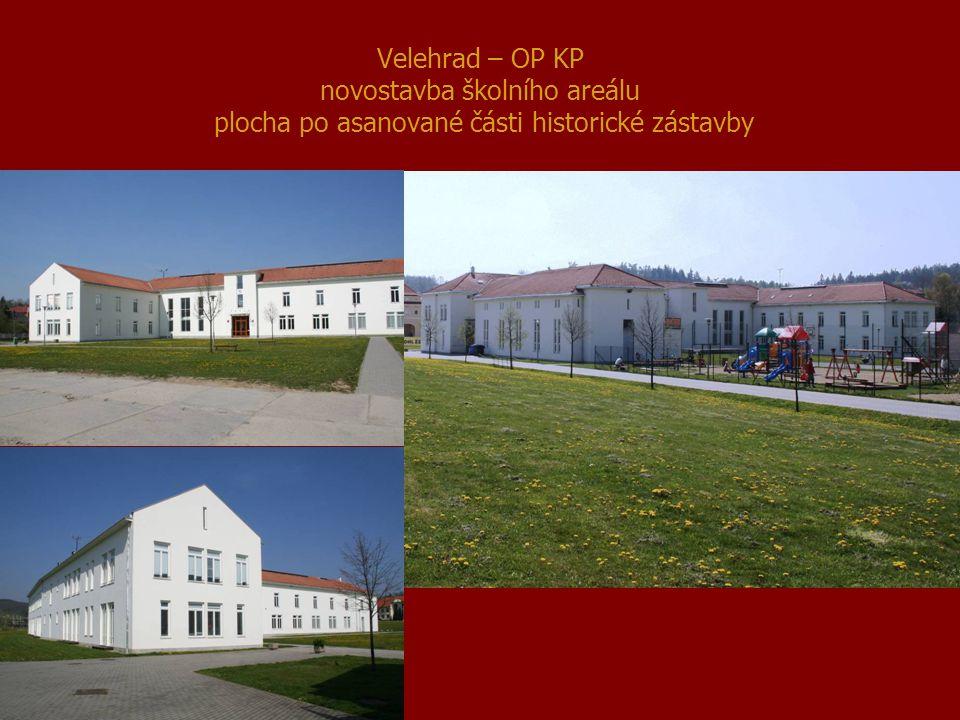 Velehrad – OP KP novostavba školního areálu plocha po asanované části historické zástavby