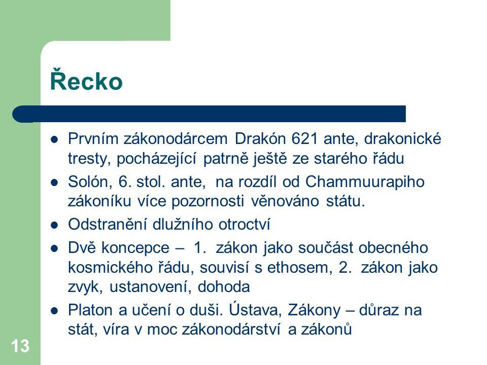 Řecko Prvním zákonodárcem Drakón 621 ante, drakonické tresty, pocházející patrně ještě ze starého řádu.