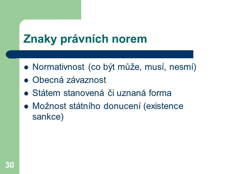 Znaky právních norem Normativnost (co být může, musí, nesmí)