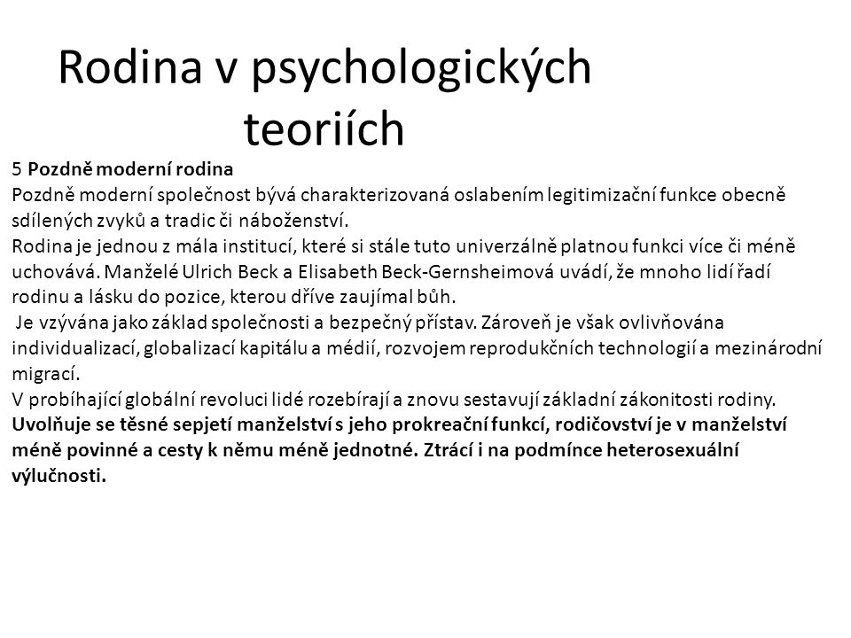 Rodina v psychologických teoriích