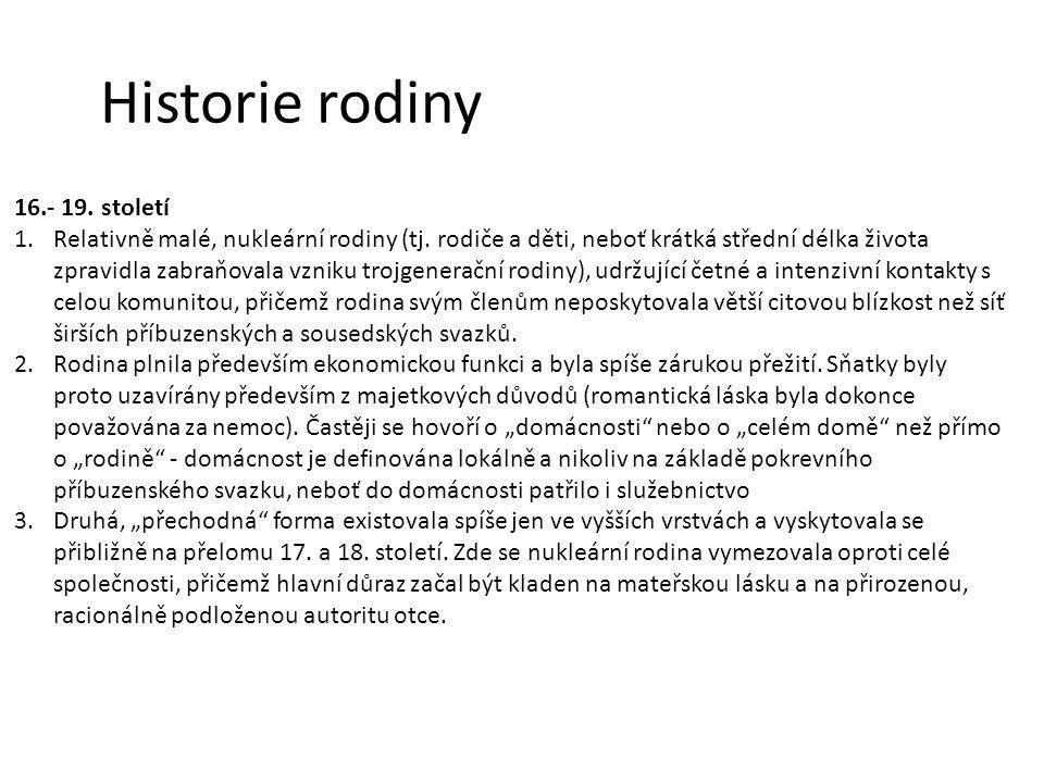 Historie rodiny 16.- 19. století