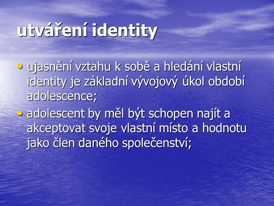 utváření identity ujasnění vztahu k sobě a hledání vlastní identity je základní vývojový úkol období adolescence;