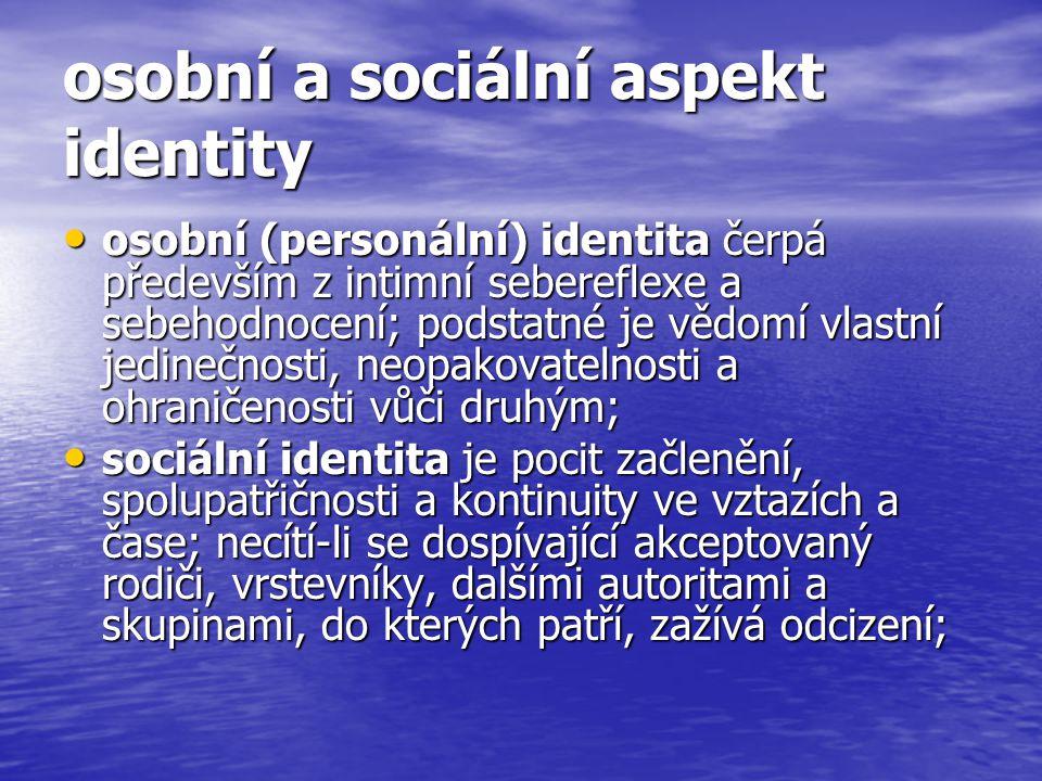 osobní a sociální aspekt identity