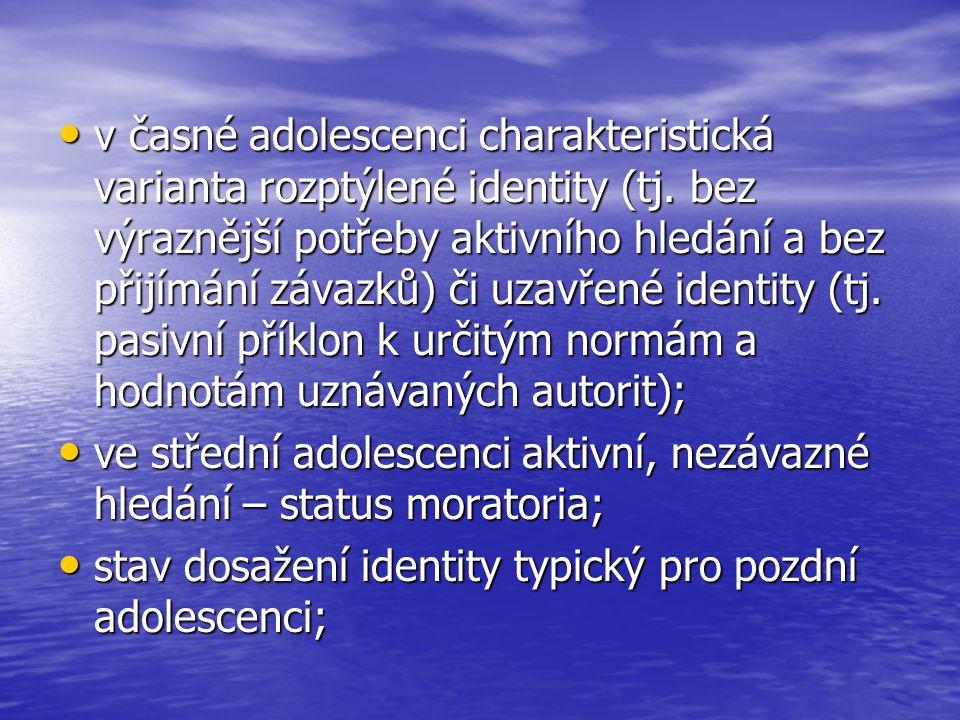 v časné adolescenci charakteristická varianta rozptýlené identity (tj