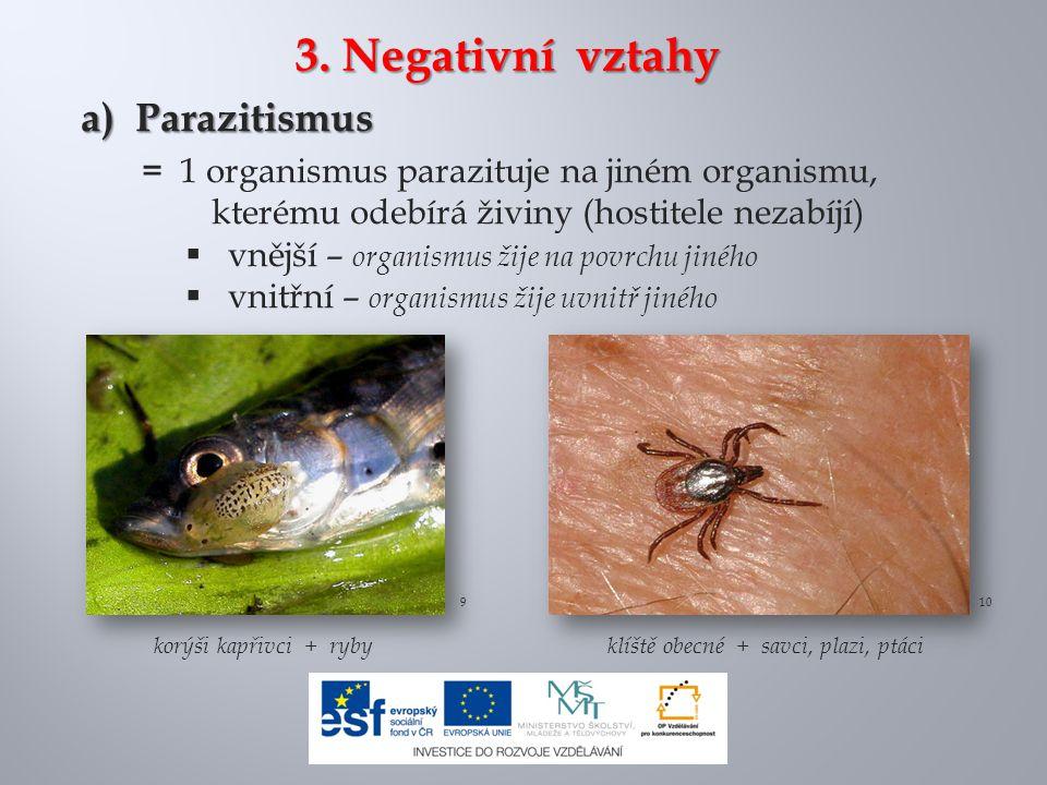 3. Negativní vztahy a) Parazitismus
