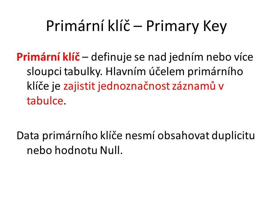 Primární klíč – Primary Key