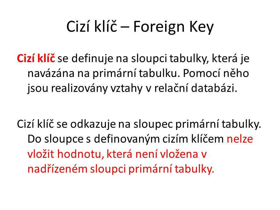 Cizí klíč – Foreign Key