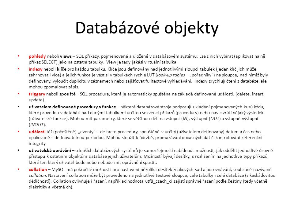 Databázové objekty