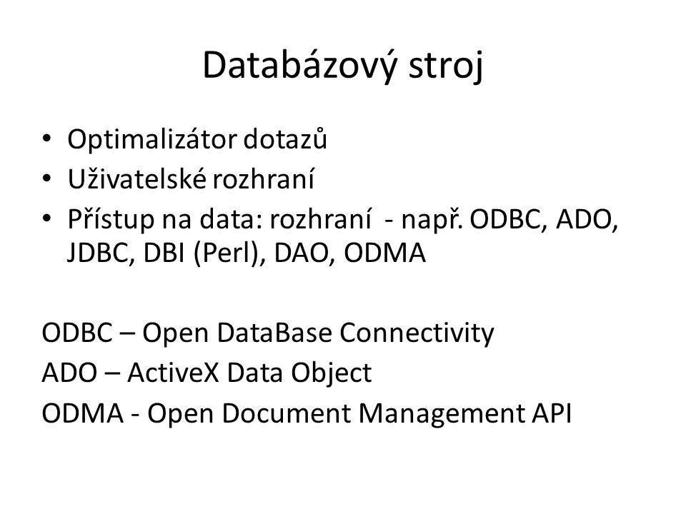 Databázový stroj Optimalizátor dotazů Uživatelské rozhraní