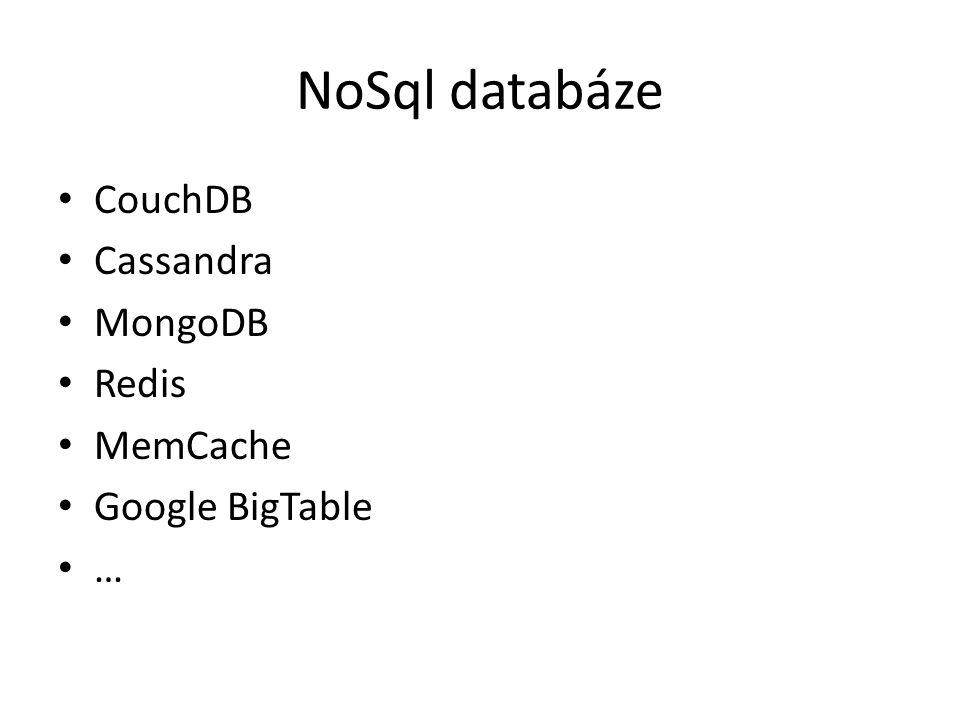 NoSql databáze CouchDB Cassandra MongoDB Redis MemCache