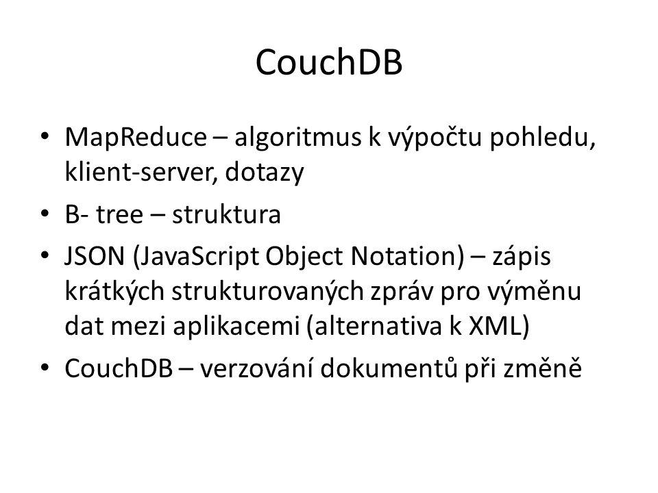 CouchDB MapReduce – algoritmus k výpočtu pohledu, klient-server, dotazy. B- tree – struktura.