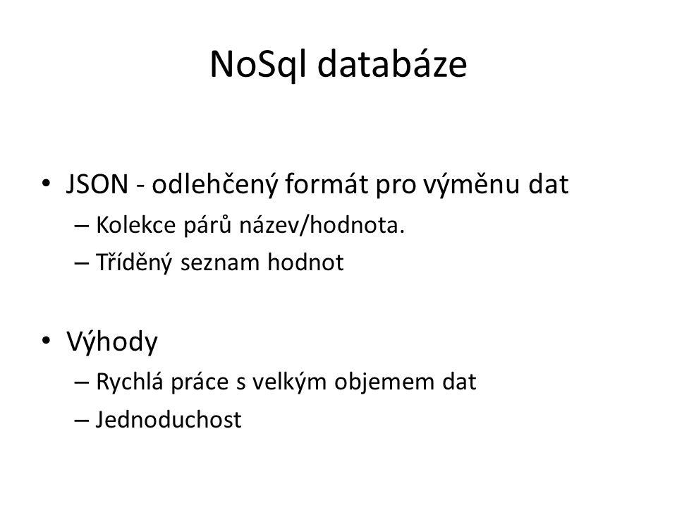 NoSql databáze JSON - odlehčený formát pro výměnu dat Výhody