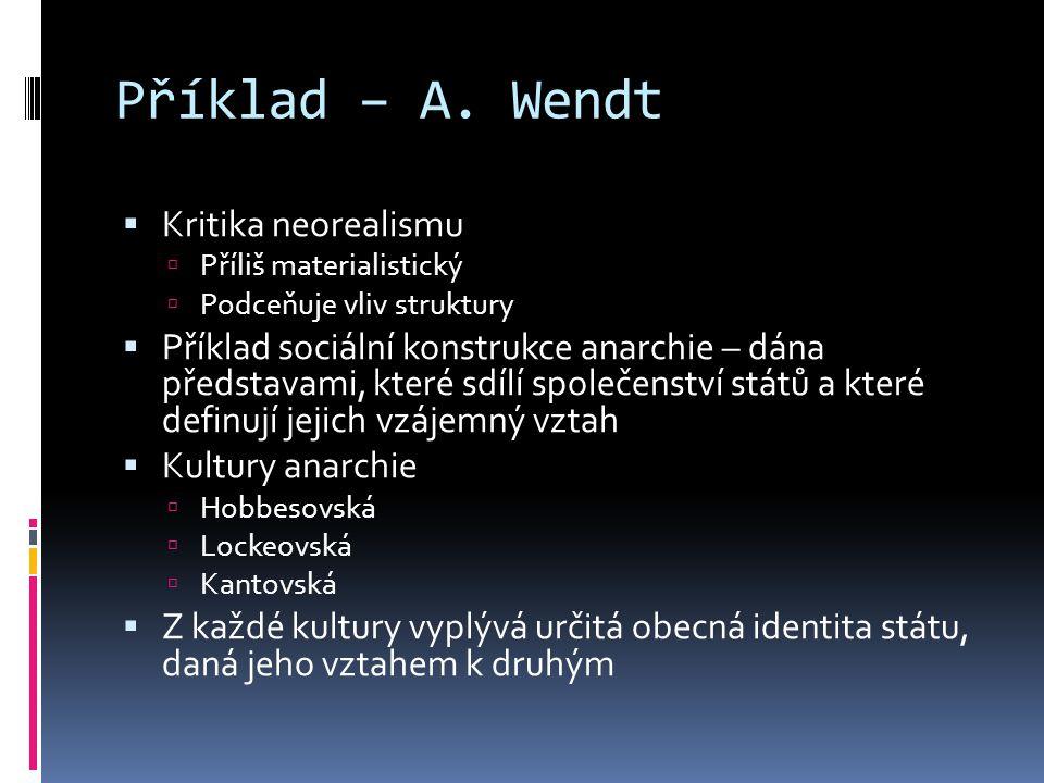 Příklad – A. Wendt Kritika neorealismu