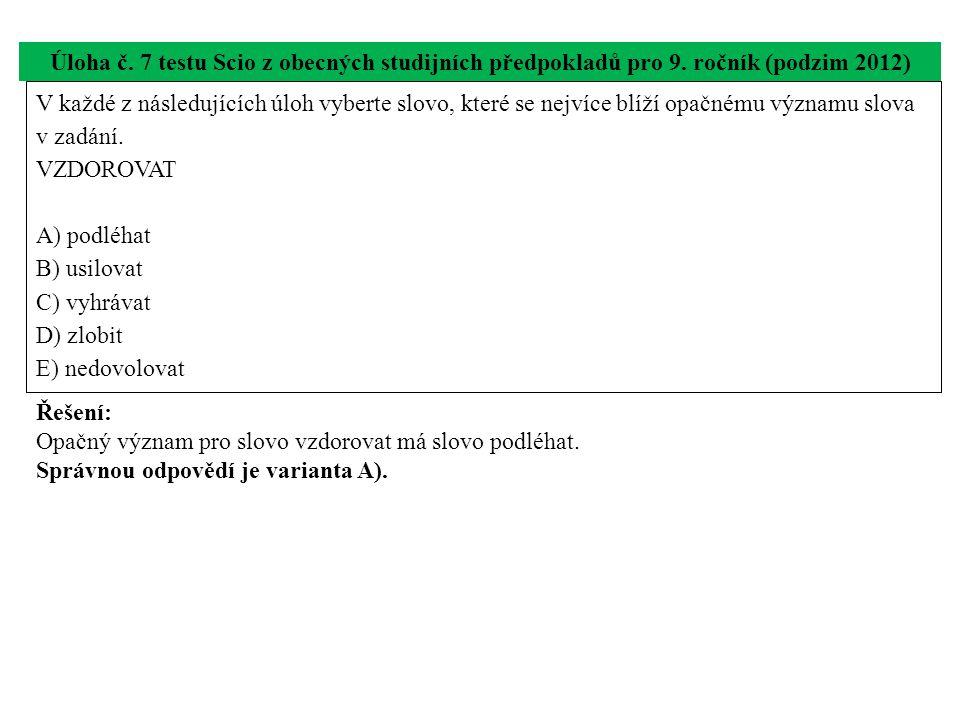 Úloha č. 7 testu Scio z obecných studijních předpokladů pro 9