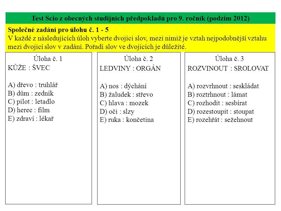 Test Scio z obecných studijních předpokladů pro 9. ročník (podzim 2012)