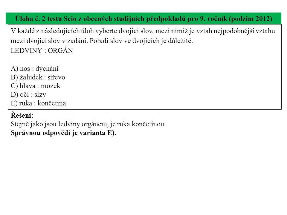 Úloha č. 2 testu Scio z obecných studijních předpokladů pro 9