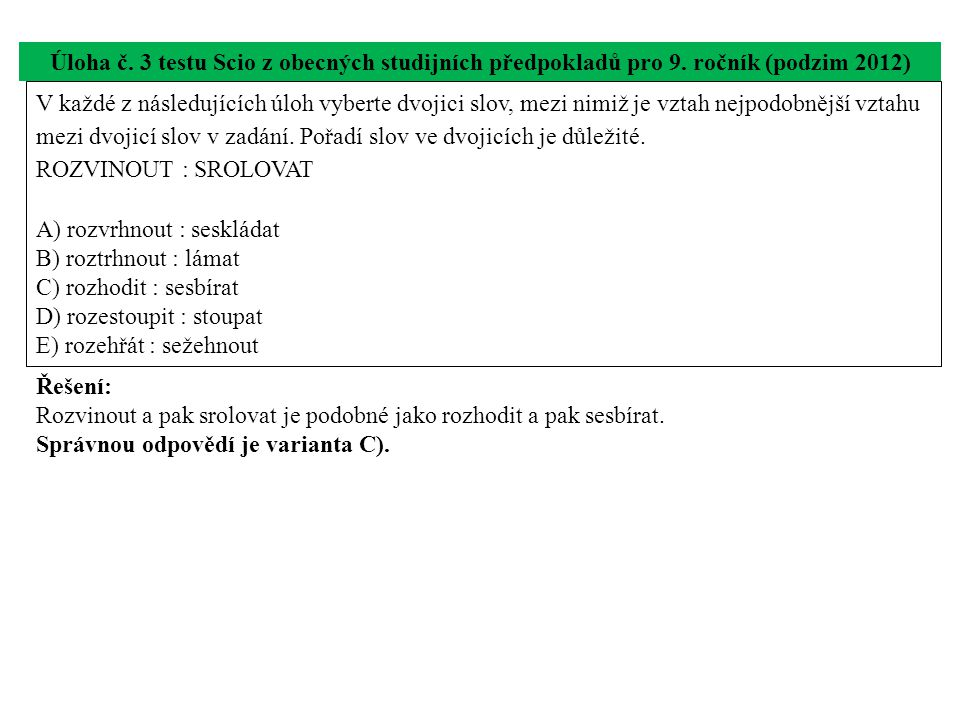 Úloha č. 3 testu Scio z obecných studijních předpokladů pro 9