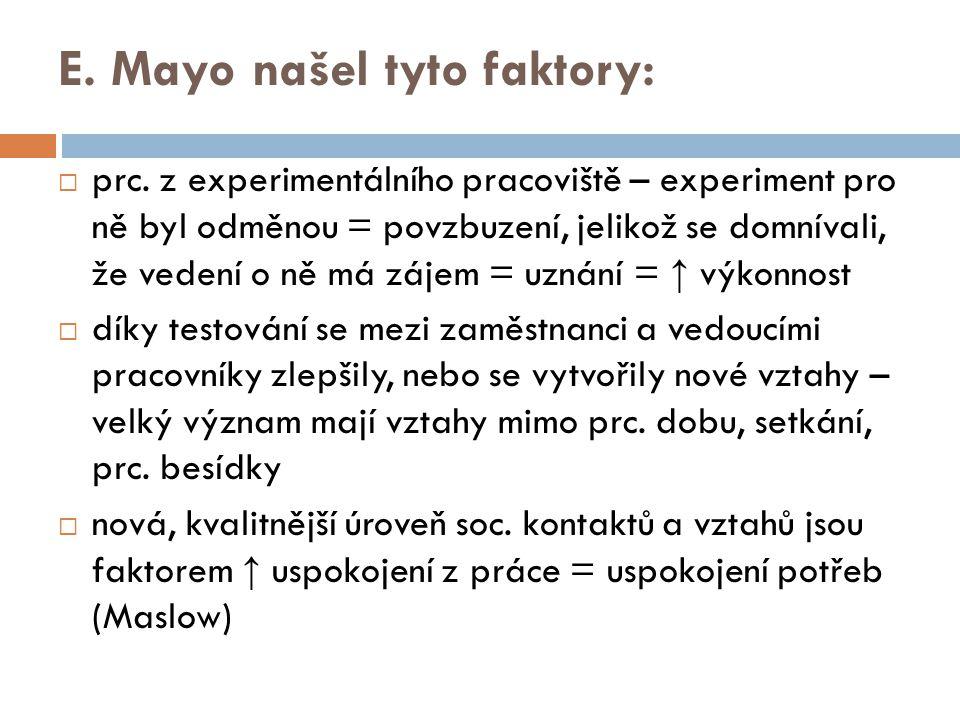 E. Mayo našel tyto faktory: