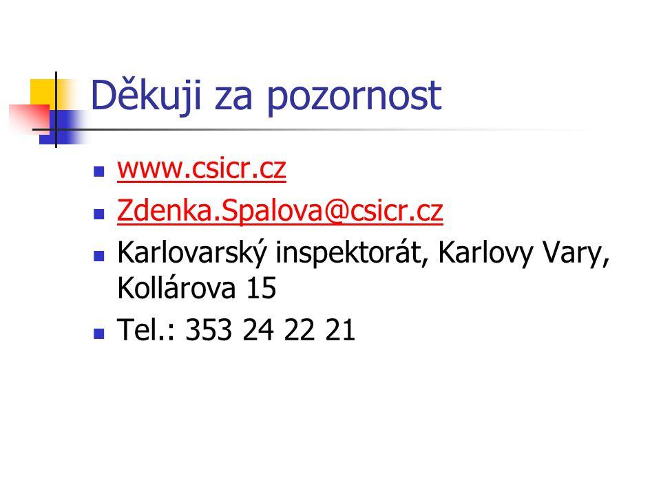Děkuji za pozornost www.csicr.cz Zdenka.Spalova@csicr.cz