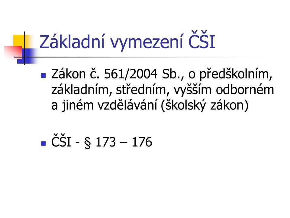 Základní vymezení ČŠI Zákon č. 561/2004 Sb., o předškolním, základním, středním, vyšším odborném a jiném vzdělávání (školský zákon)