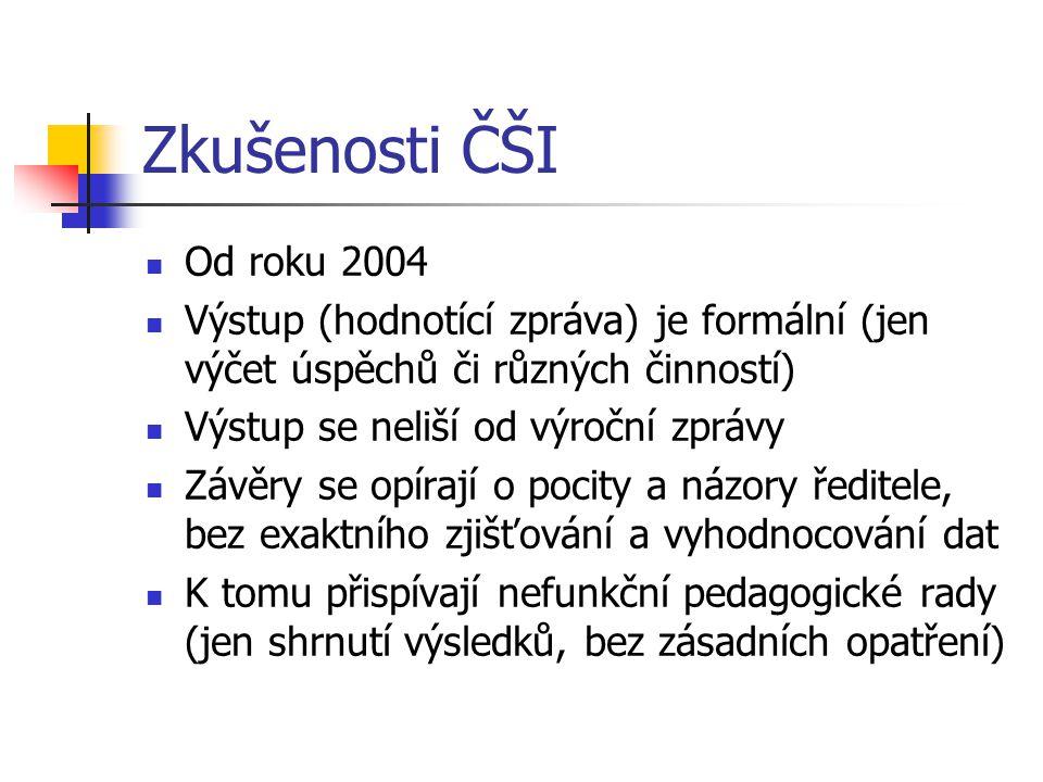 Zkušenosti ČŠI Od roku 2004. Výstup (hodnotící zpráva) je formální (jen výčet úspěchů či různých činností)