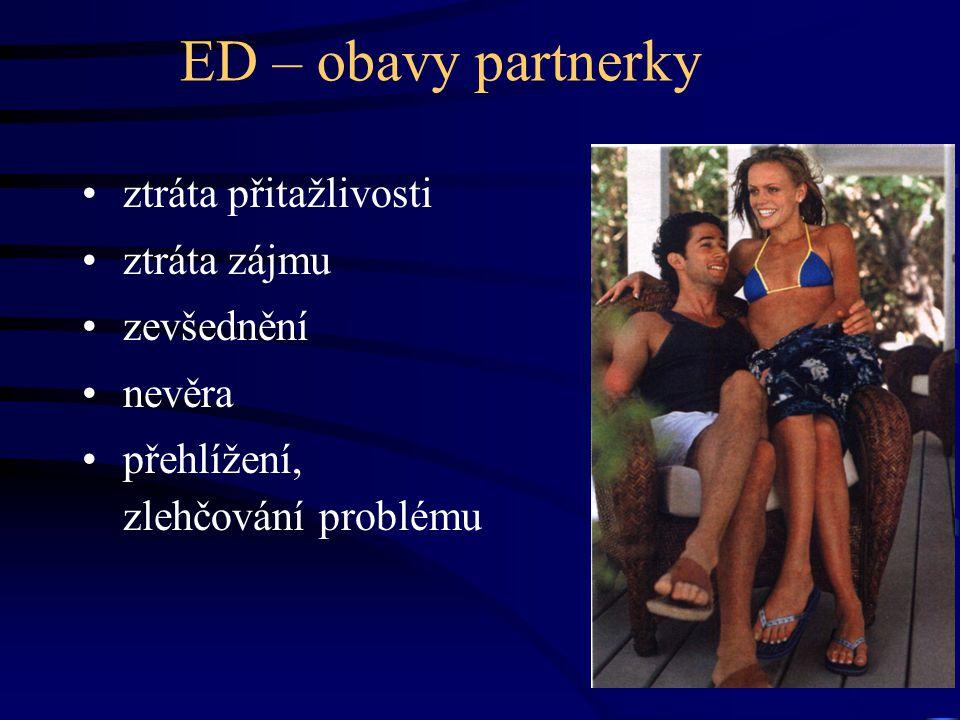 ED – obavy partnerky ztráta přitažlivosti ztráta zájmu zevšednění