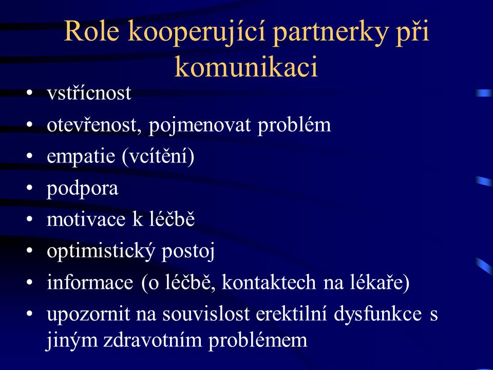 Role kooperující partnerky při komunikaci