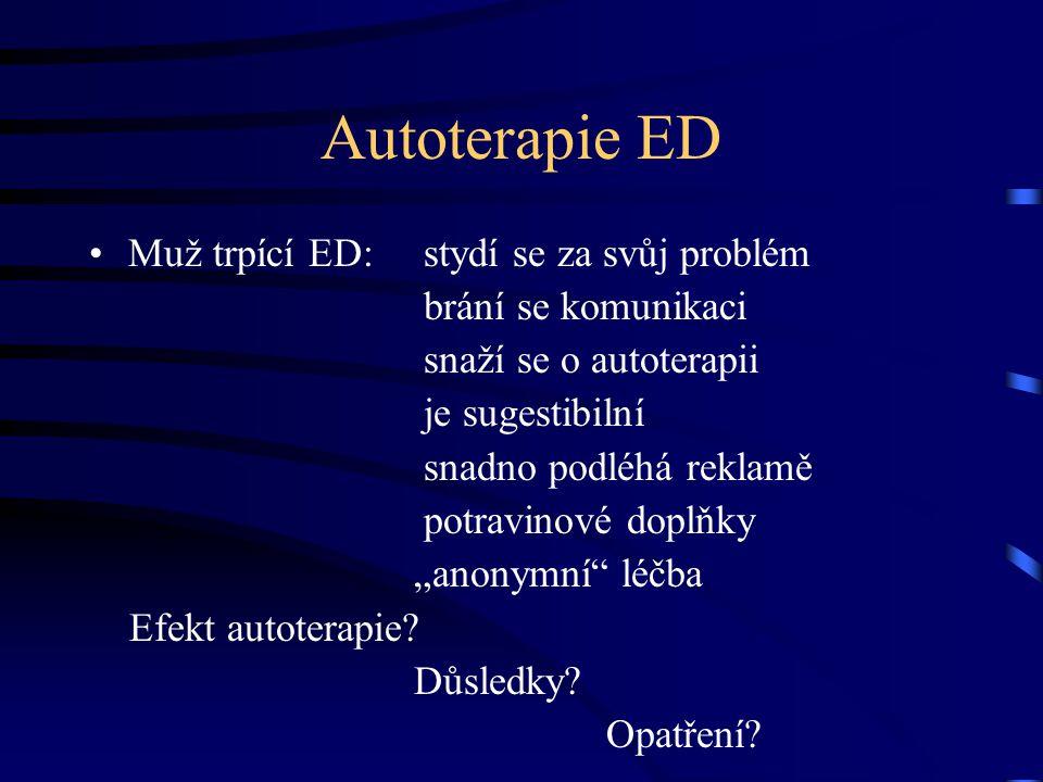 Autoterapie ED Muž trpící ED: stydí se za svůj problém