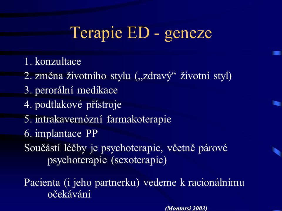 Terapie ED - geneze 1. konzultace