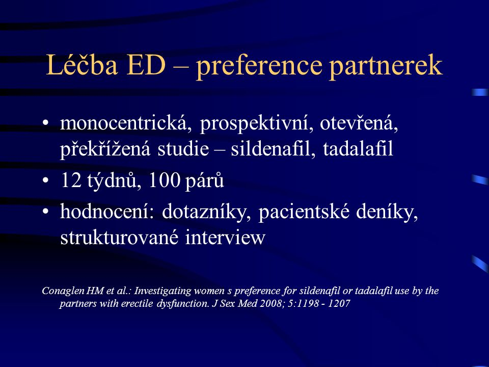 Léčba ED – preference partnerek