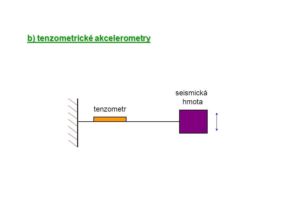 b) tenzometrické akcelerometry