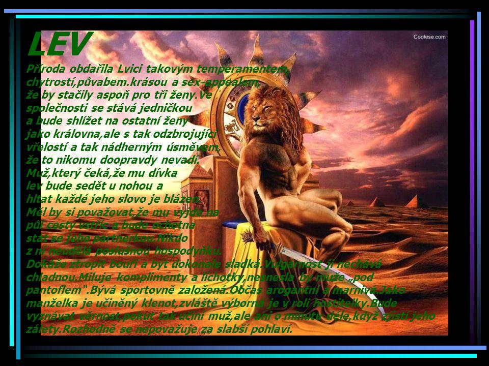LEV Příroda obdařila Lvici takovým temperamentem, chytrostí,půvabem