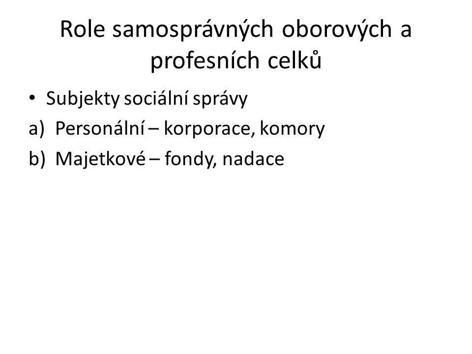 Role samosprávných oborových a profesních celků