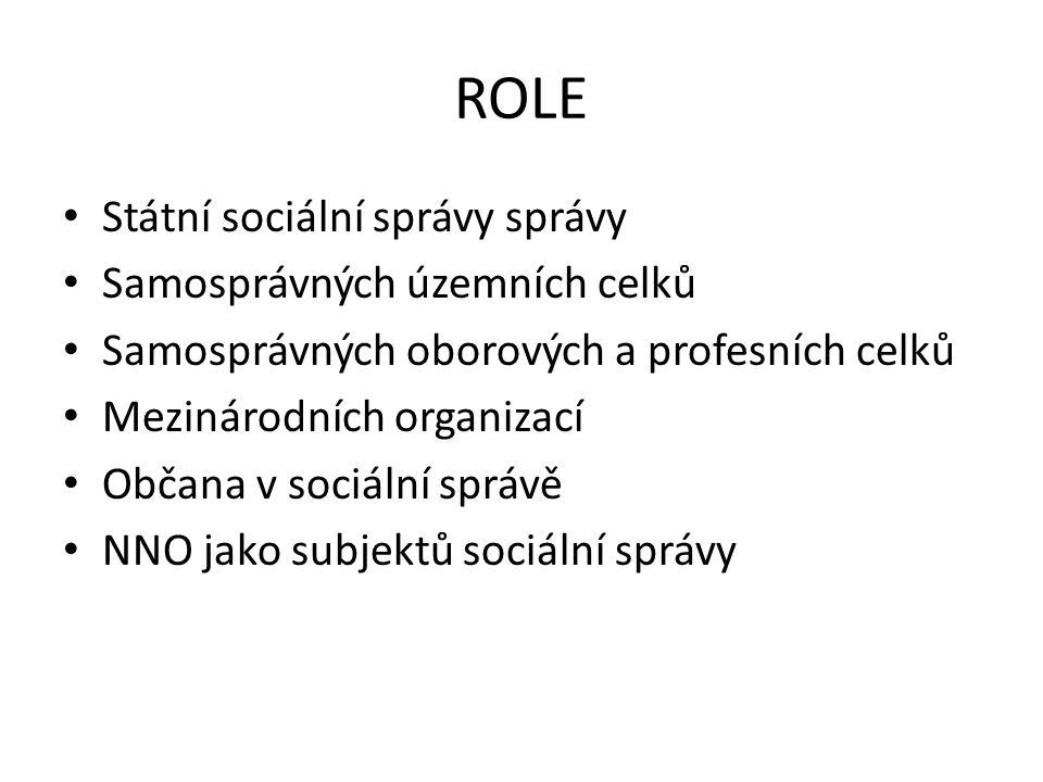 ROLE Státní sociální správy správy Samosprávných územních celků