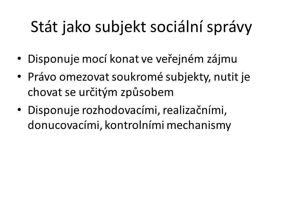 Stát jako subjekt sociální správy