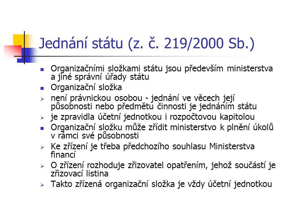 Jednání státu (z. č. 219/2000 Sb.) Organizačními složkami státu jsou především ministerstva a jiné správní úřady státu.
