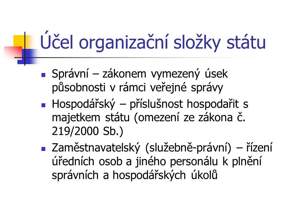 Účel organizační složky státu