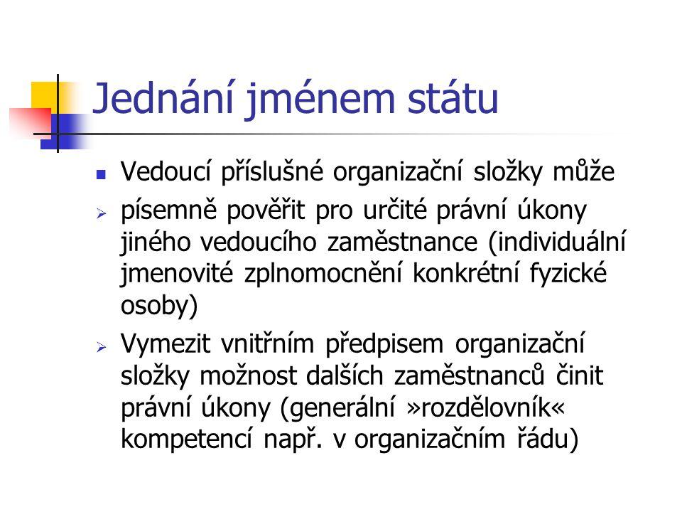 Jednání jménem státu Vedoucí příslušné organizační složky může