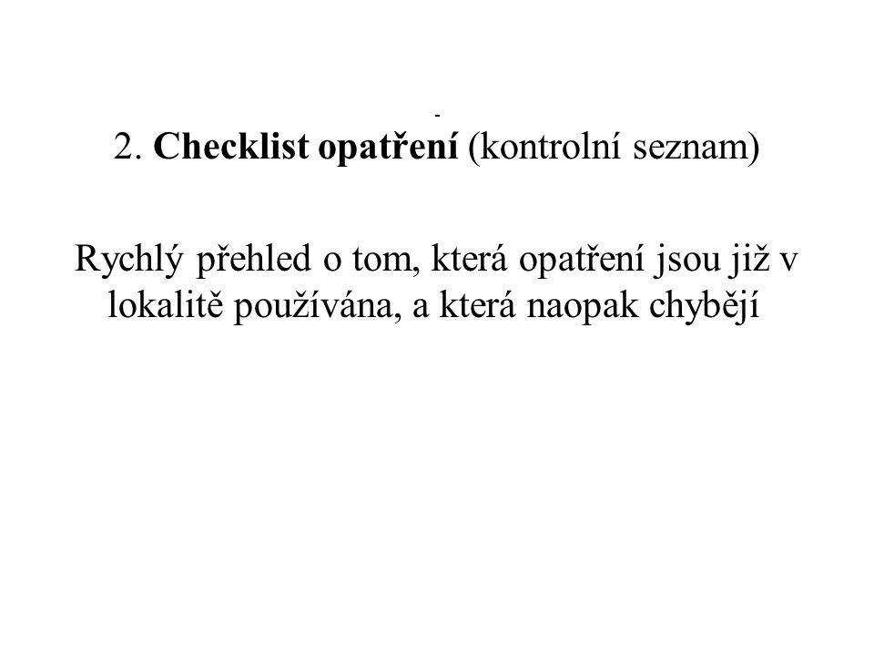 2. Checklist opatření (kontrolní seznam)