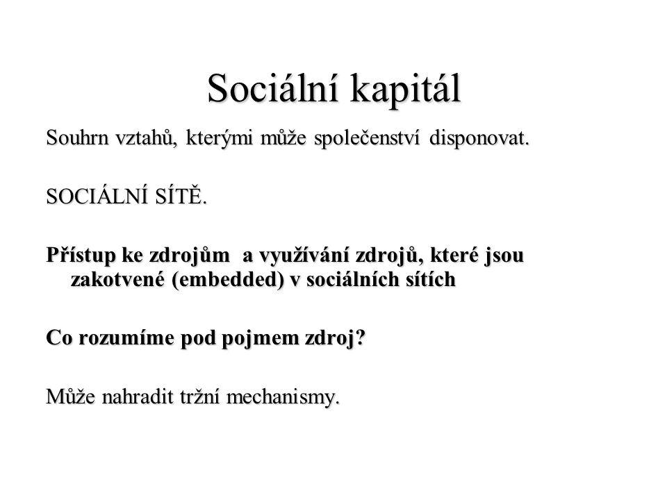 Sociální kapitál Souhrn vztahů, kterými může společenství disponovat.