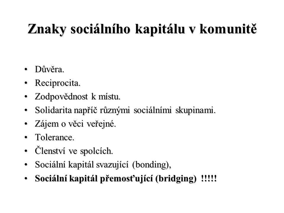 Znaky sociálního kapitálu v komunitě