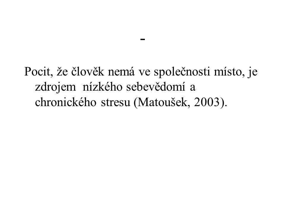 - Pocit, že člověk nemá ve společnosti místo, je zdrojem nízkého sebevědomí a chronického stresu (Matoušek, 2003).