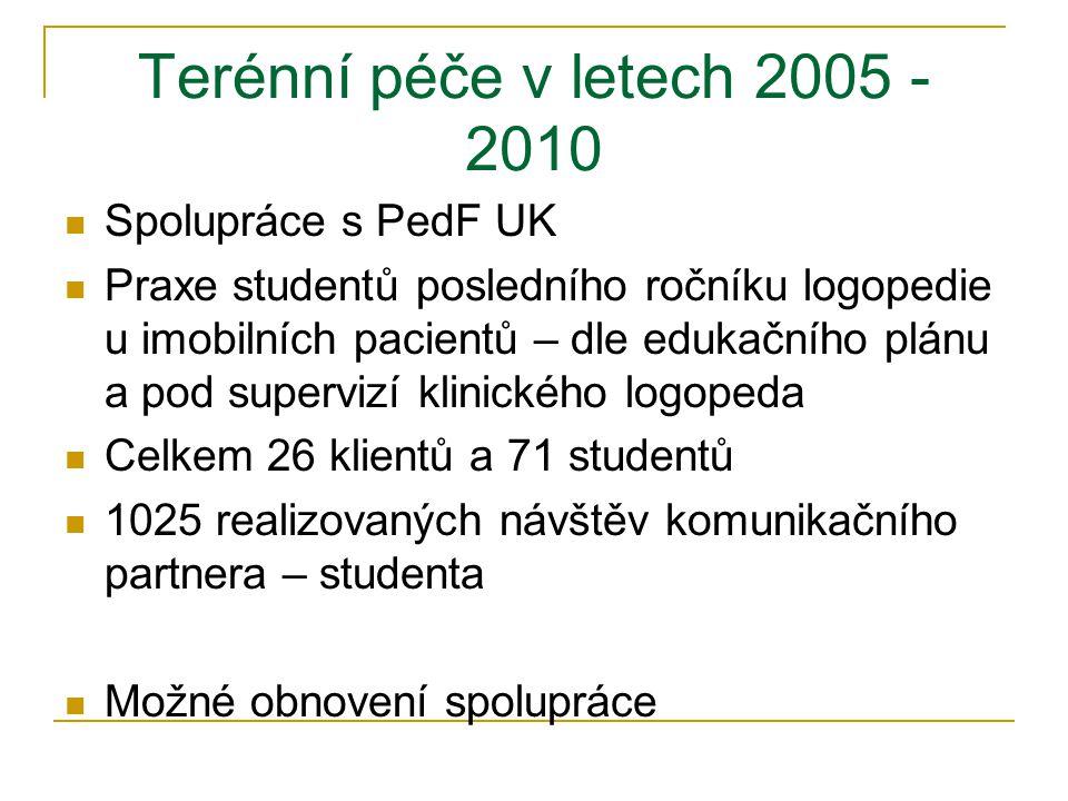 Terénní péče v letech 2005 - 2010 Spolupráce s PedF UK