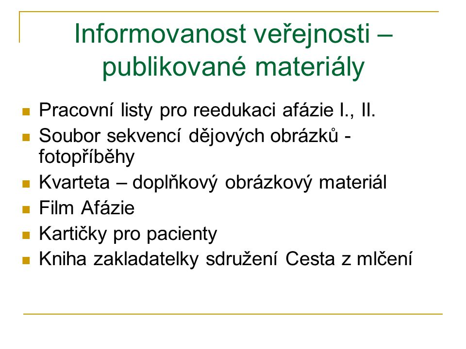 Informovanost veřejnosti – publikované materiály