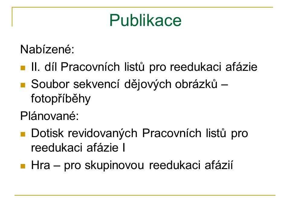 Publikace Nabízené: II. díl Pracovních listů pro reedukaci afázie