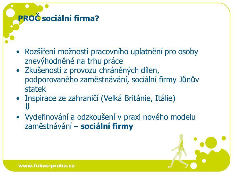 PROČ sociální firma Rozšíření možností pracovního uplatnění pro osoby znevýhodněné na trhu práce.