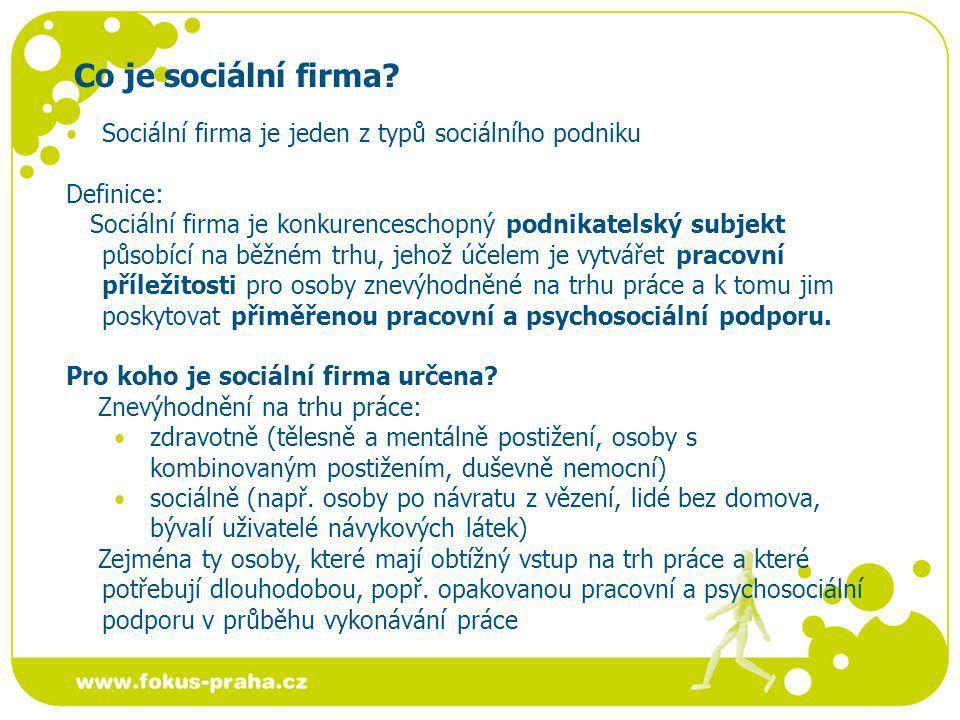 Co je sociální firma Sociální firma je jeden z typů sociálního podniku. Definice: