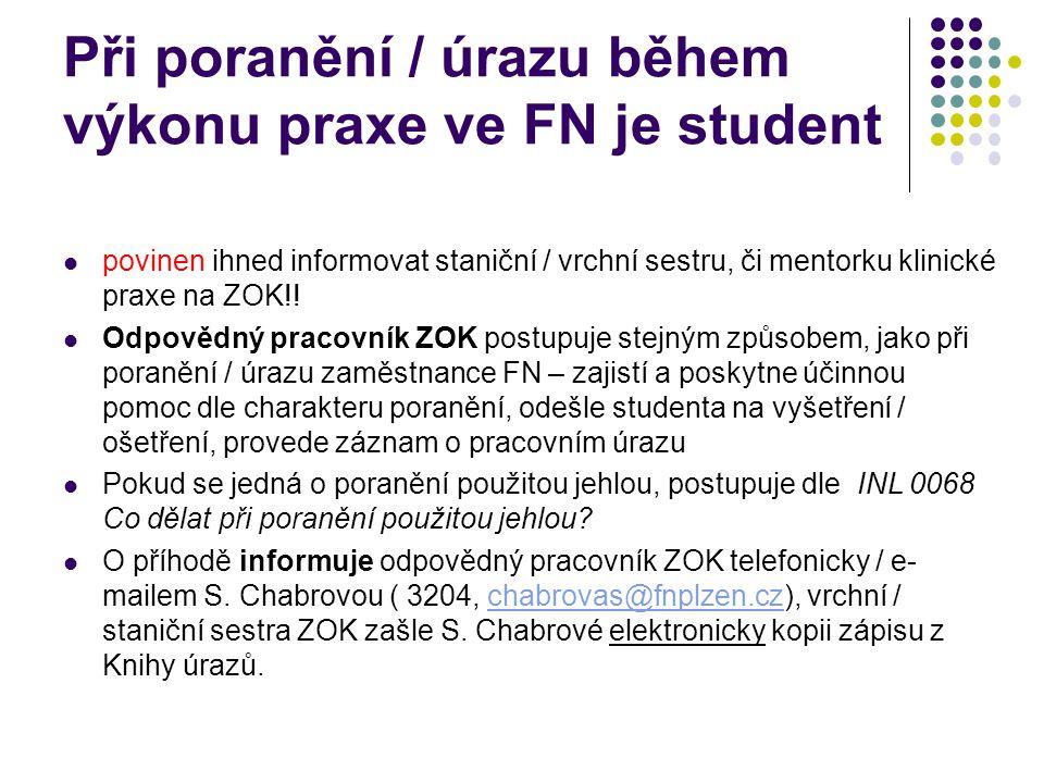 Při poranění / úrazu během výkonu praxe ve FN je student